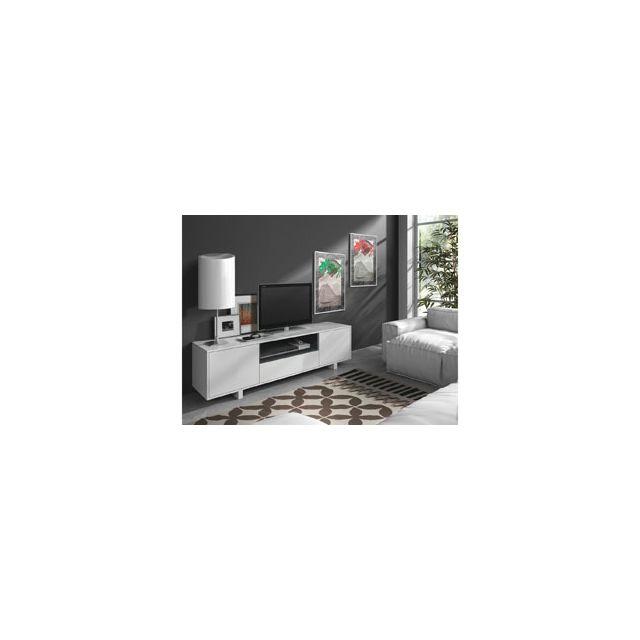 habitat et jardin meuble tv bexus 2 40 x 150 x 47 cm blanc bri pas cher achat vente. Black Bedroom Furniture Sets. Home Design Ideas