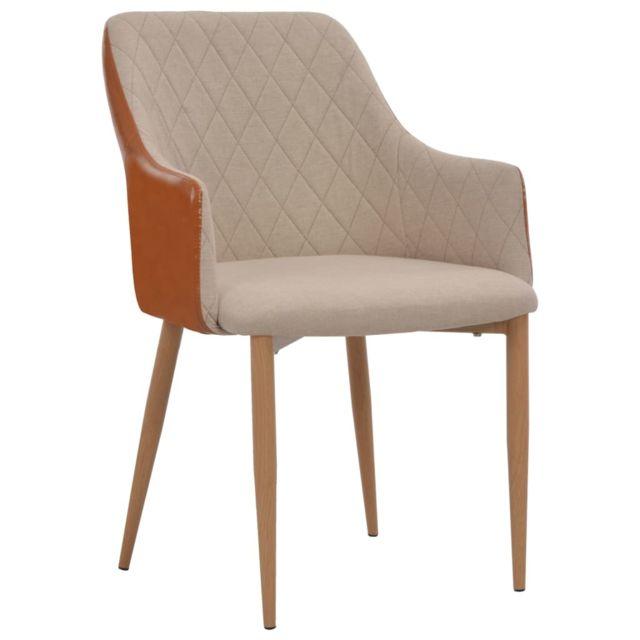 Chaises de salle à manger 6 pcs Gris et marron Tissu MeublesFauteuilsChaises de cuisine et de salle à manger | Multicolore | Multicolore