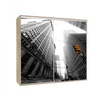 Générique - Armoire 2 portes coulissantes Loppee largeur 155 cm décor City