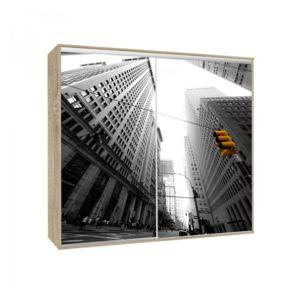 Générique - Armoire 2 portes coulissantes Loppee largeur 155 cm décor City Chêne - 155cm x 215cm x 66cm