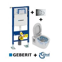 Geberit - Pack Up320 + Cuvette Connect sans bride + plaque Sigma Chr brillante