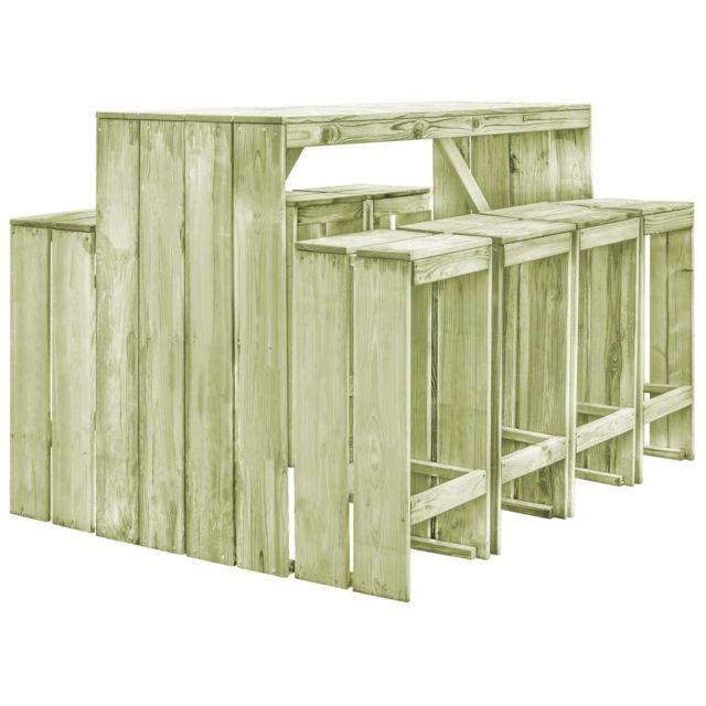 VIDAXL Mobilier de salle à manger de jardin 9 pcs Pin imprégné FSC   Vert - Meubles/Meubles de jardin/Ensembles de meubles d'ex