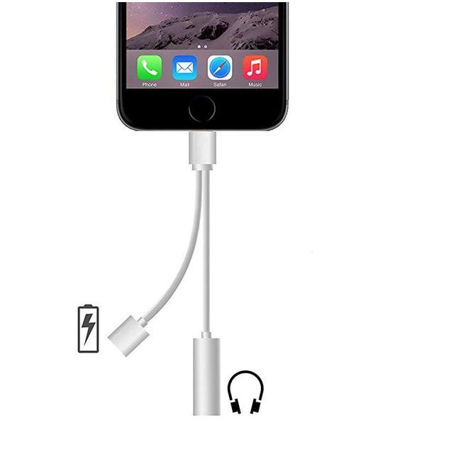 iphone 7 Adaptateur 2 en 1 Adaptateur Lightning Câble avec 3.5mm Ecouteur Jack Adaptateur Chargeur avec Prise Casque Jack pour iPhone 7 7 Plus 6S 6