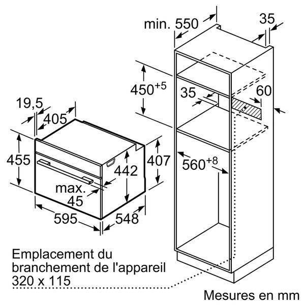 SIEMENS - four combiné mo intégrable 45l pyrolyse inox/noir - cm633gbs1