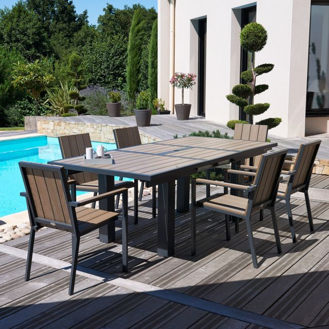 Dcb Garden - Salon de jardin - Table rallonge papillon + 6 ...