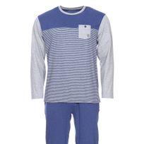 Mariner - Pyjama long en jersey de coton : tee-shirt manches longues col rond bleu chiné à rayures grises et pantalon bleu chiné