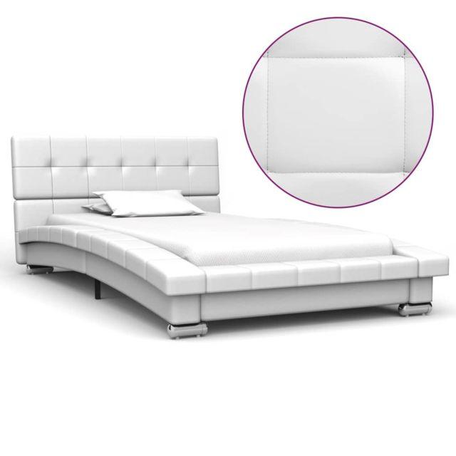 Vidaxl Cadre de lit Blanc Similicuir 200 x 90 cm