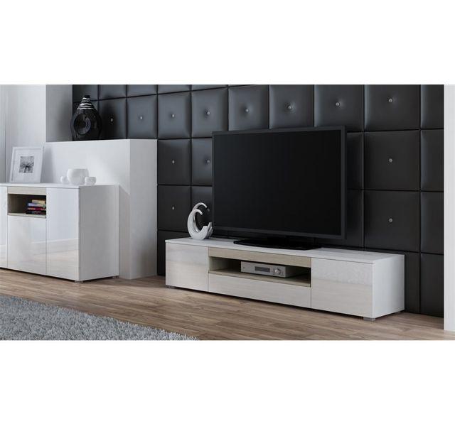 CHLOE DESIGN Meuble TV design ELVA - Blanc/Bois