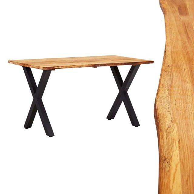 Vidaxl Bois de Chêne Massif Table de Salle à Manger 140x80x75 cm Dîner Cuisine