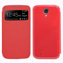 Vcomp - Coque Etui Housse Pochette Plastique View Case pour Samsung Galaxy S4 i9500/ i9505/ Value Edition I9515 - Rouge