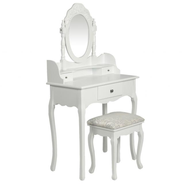 Rocambolesk Superbe Coiffeuse blanche & siège avec miroir inclus Neuf