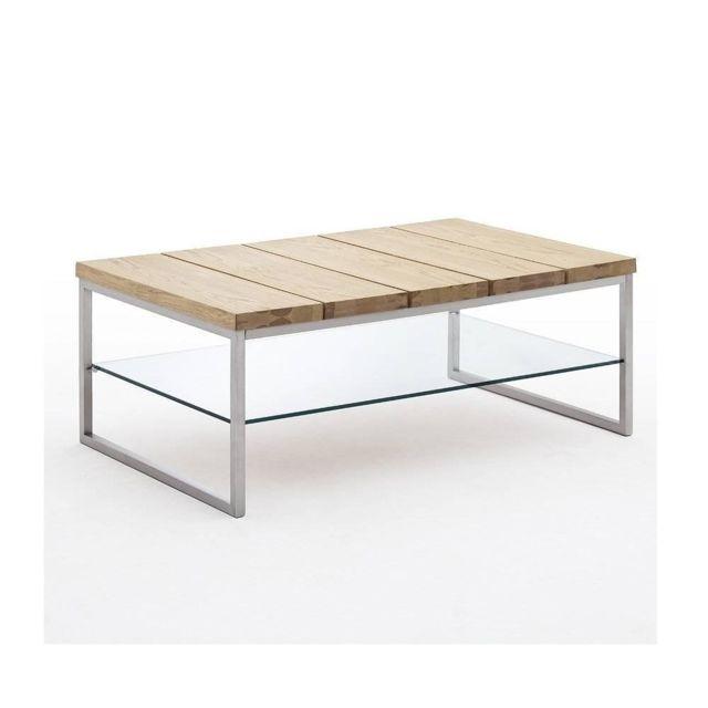 Inside 75 Table basse Normandie 100 x 60 cm en chêne noueux métal et verre