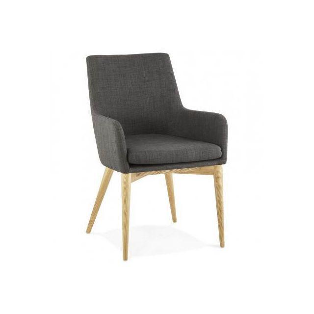 TECHNEB Fauteuil de style scandinave design BARBARA en tissu gris foncé