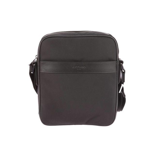 73031912ba Azzaro - Grande sacoche en toile noire à empiècements en cuir de vachette  lisse - pas cher Achat / Vente Besaces et bandoulières - RueDuCommerce