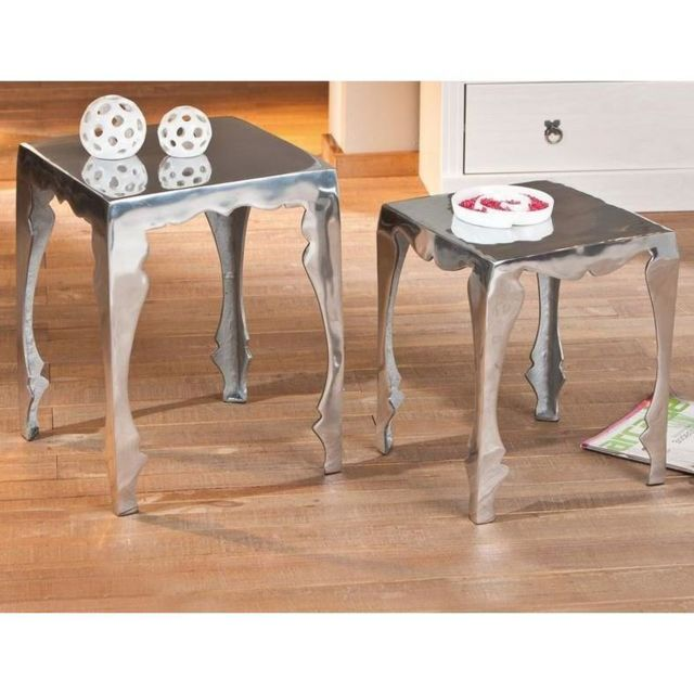 Inside 75 Lot de 2 tables d'appoint Solta en aluminium