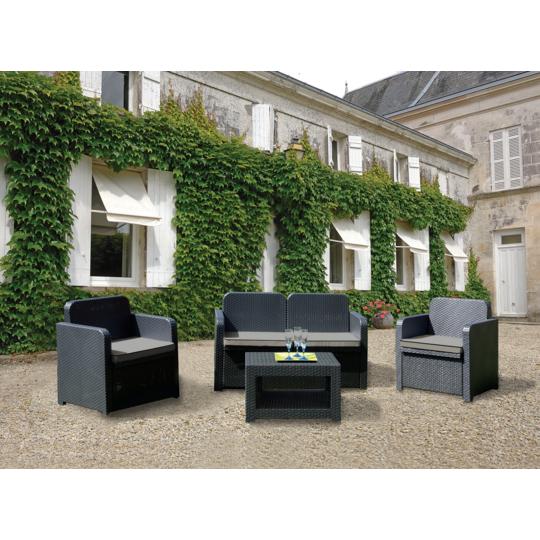 LAGOS - Salon bas de jardin - Graphite - S7705Y à Prix Carrefour