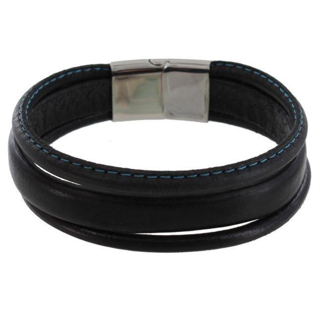 professional sale elegant shoes uk cheap sale Bracelet Homme Cuir Noir Trois Lanières Cousu - Classics - Bleu