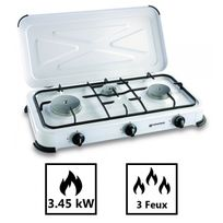 Kemper - Plaque de cuisson gaz portable 3 feux - 3450 w - blanc laqué