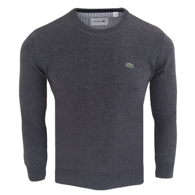 215037dddc Lacoste - Pull col rond Pull Cr18 gris foncé - pas cher Achat / Vente Pull  homme - RueDuCommerce
