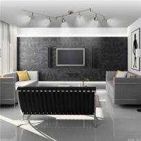 Générique - Plafonnier 6 spots Led orientables 5 W Luminaire plafond sur rampe design Nickel Mat