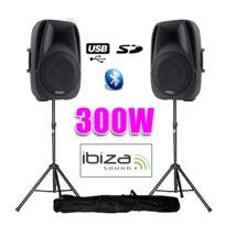 """Ibiza - Enceintes actives 8""""/20CM 300W Usb/SD/BT + pieds"""