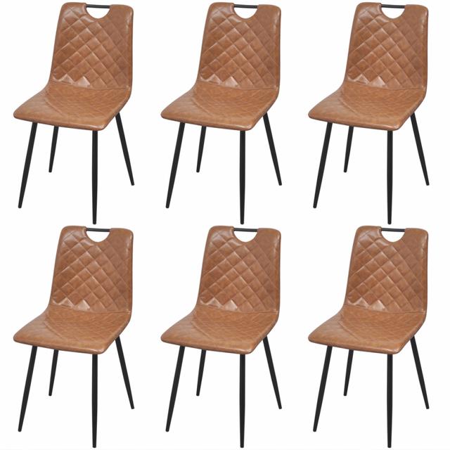 Vidaxl Chaise de salle à manger 6 pcs Cuir synthétique Marron clair