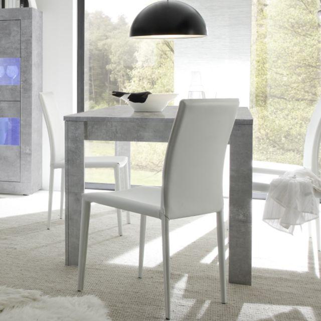 Kasalinea Table 140 cm avec rallonge effet béton gris design Ariel 4