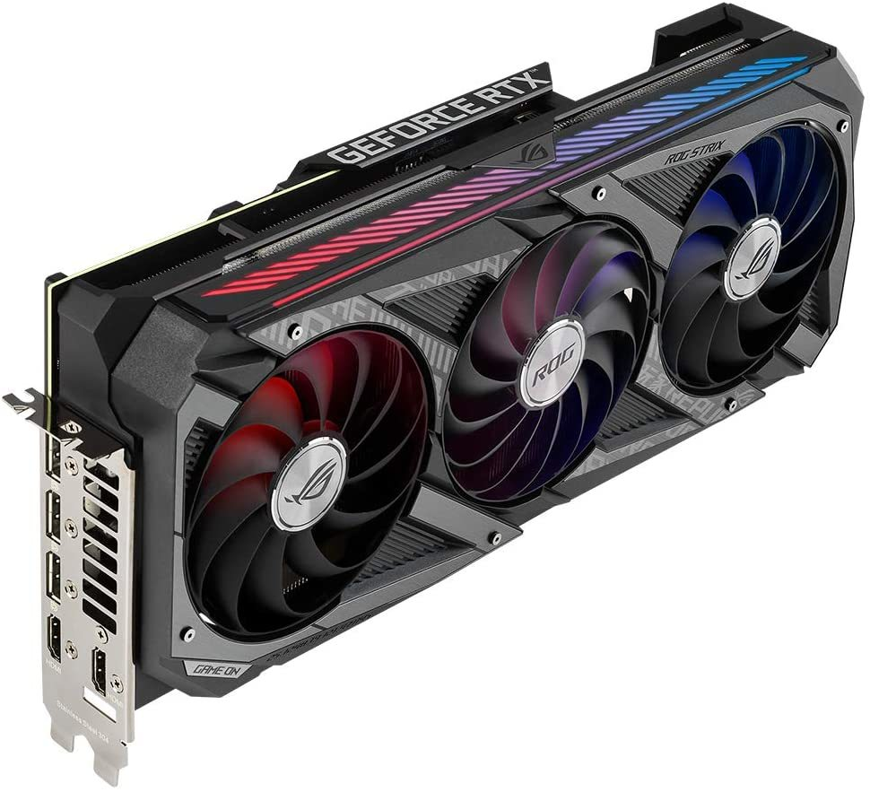 Carte graphique Gaming ROG STRIX RTX 3080 OC 10 Go GDDR6X Asus, équipée d'un triple ventilateur. Il embarque le bus PCI Express 4.0.