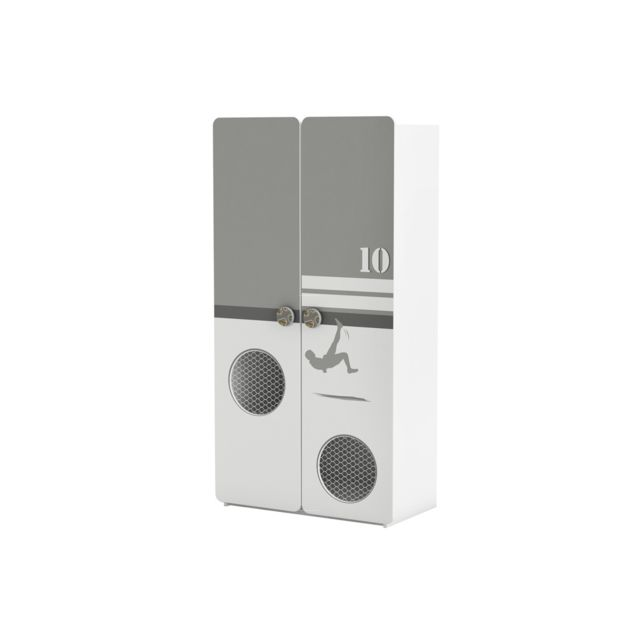 Habitat et Jardin - Armoire Foot - 2 portes - 96,5 x 51.5 x 184,6 cm - Blanc perle