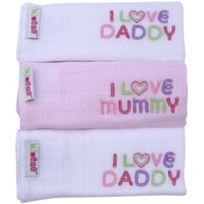 Minene - Lot De 3 Petites Serviettes CarrÉES BrodÉES I Love Mummy/I Love Daddy Blanc/ROSE