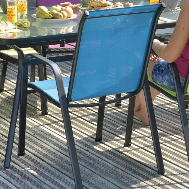Modèle : seattle. Dimensions : l.67 x l.55 x h.92 cm, structure en acier, assise et dossier en textilène. Coloris bleu l