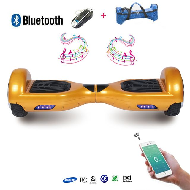 COOL AND FUN - COOL&FUN Hoverboard Batterie Samsung Enseigne Bleutooth, gyropode 6,5 pouces Doré