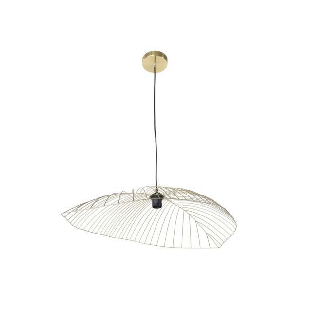 Corep - Suspension forme feuille en métal filaire diamètre 80cm Leaf - Laiton