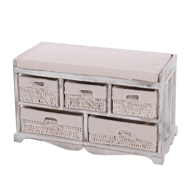 Mendler Commode / banc, 5 paniers, 77x36x45cm, shabby, vintage, blanc