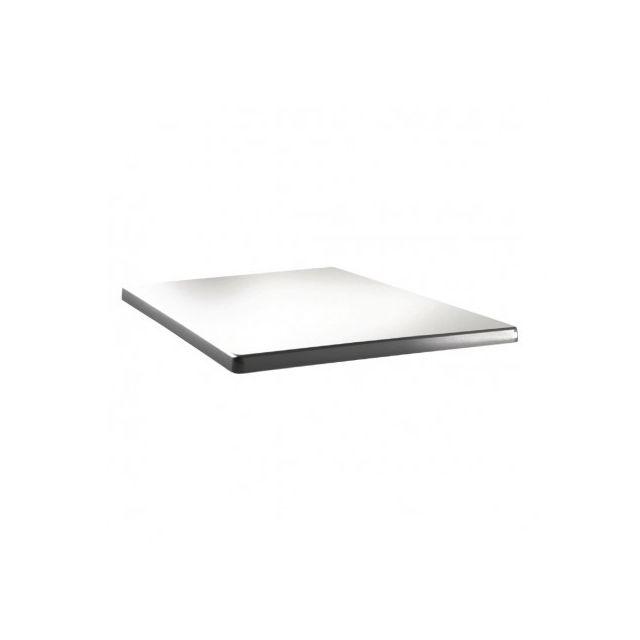 Topalit Plateau de table carré 80 cm - Blanc pur - Blanc 800 mm