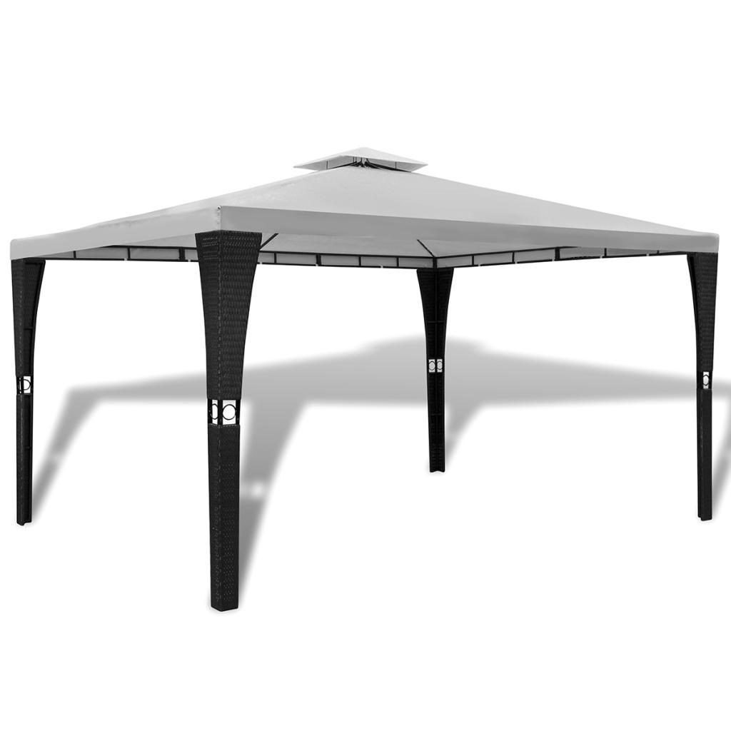 Rocambolesk - Superbe Tonnelle en polyrotin avec toit blanc crème 3 x 4 m Neuf