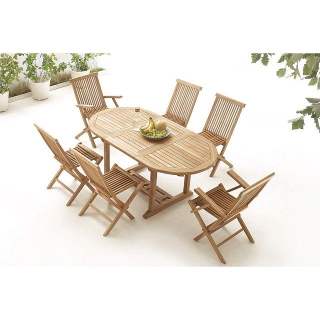 Bobochic Table Ovale 4 chaises + 2 fauteuils Teck Brut Massif