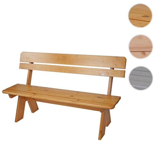 Mendler Banc de jardin Oslo, qualité normes gastronomie, bois massif, 3 places, 148cm, ~ vernis marron clair