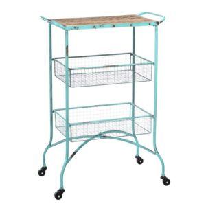 tousmesmeubles petit chariot 2 paniers sur roulettes brutus bleu 60cm x 87cm x 38cm pas. Black Bedroom Furniture Sets. Home Design Ideas
