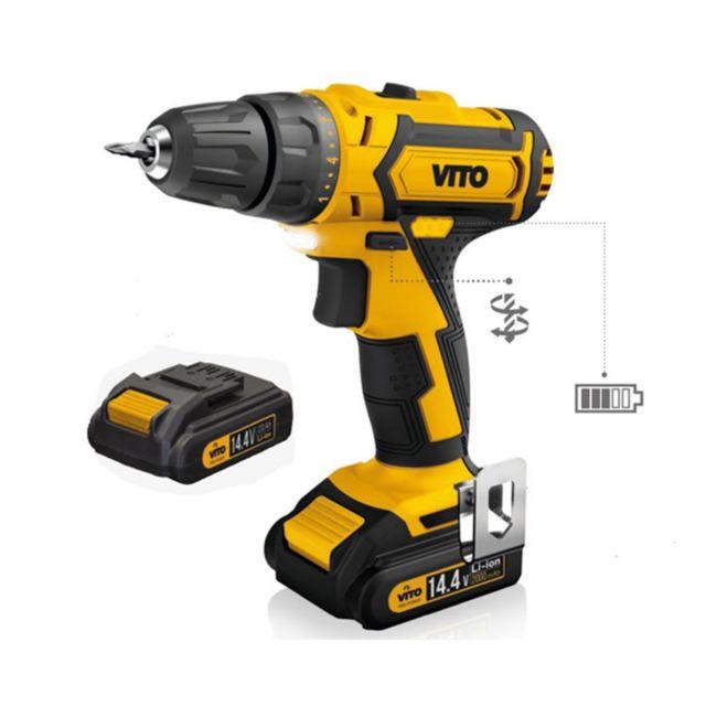 VITO PRO-POWER - Perceuse sans fil visseuse devisseuse VITO 14,4 V 2 batteries lithium 2.0Ah Chargeur rapide 1h LED et indicateur de charge