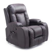 HOMCOM - Fauteuil de massage et relaxation électrique chauffant inclinable  repose-pied télécommande chocolat 1d40584735d