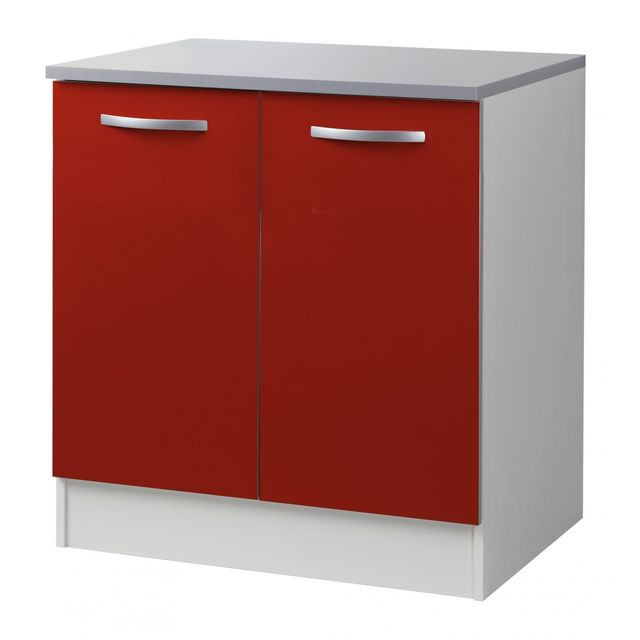 Altobuy Twist Rouge - Meuble Bas 2P 80cm