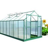 Habrita - Serre jardin structure alu couleur verte / polycarbonate 6 mm