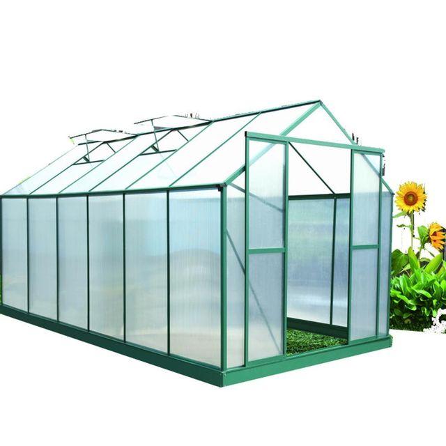 Habrita serre jardin structure alu couleur verte - Serre de jardin en verre pas cher ...