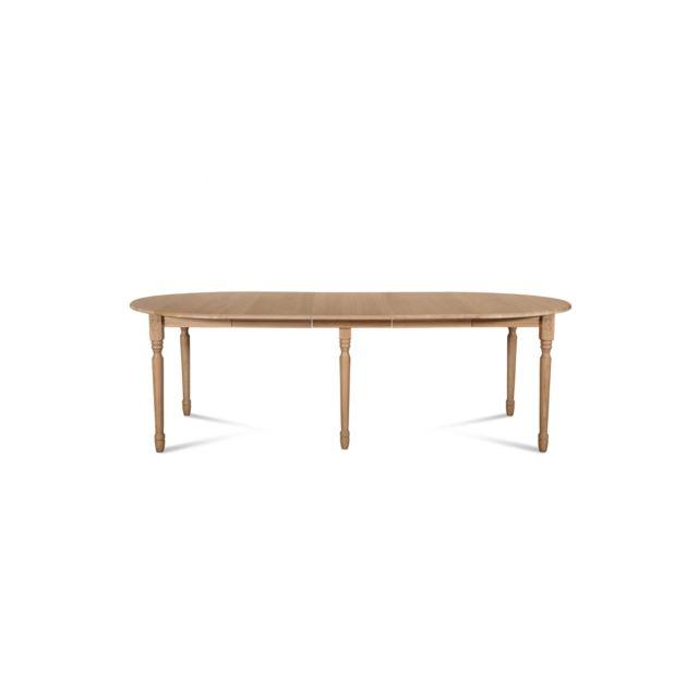 HELLIN Table ronde VICTORIA 6 pieds tournés 115 cm + 3 rallonges bois