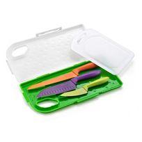 La Cuisine d'Albert - Couteaux couleurs lame inox + planche dans valisette - Set de 3 Cuisine Colors