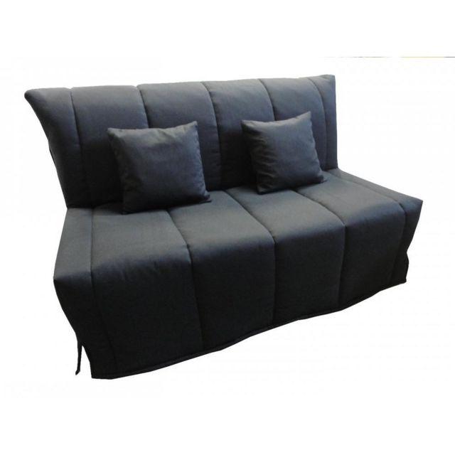 inside 75 canap bz convertible flo noir 140 200cm matelas. Black Bedroom Furniture Sets. Home Design Ideas