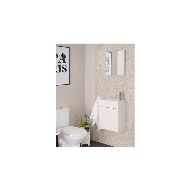 Ensemble vasque et miroir blanc brillant