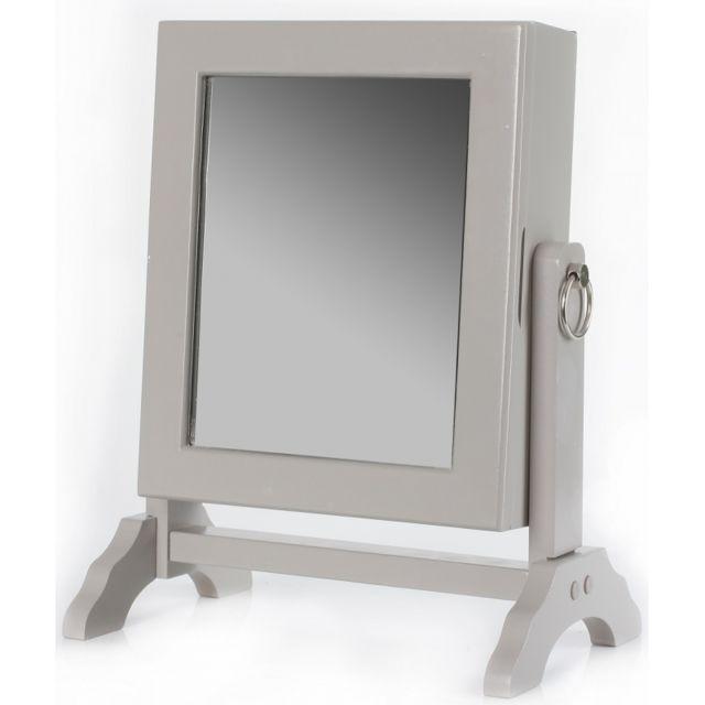 Armoire à bijoux avec miroir inclinable - Taupe - Rangement 54 ...