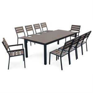 alice 39 s garden salon de jardin monaco en bois composite et aluminium table 220cm 8 chaises. Black Bedroom Furniture Sets. Home Design Ideas